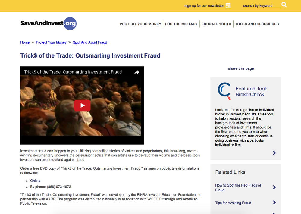 Get your free Outsmarting Investment Fraud DVD