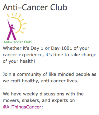 screenshot from The Anti-Cancer Club Web site