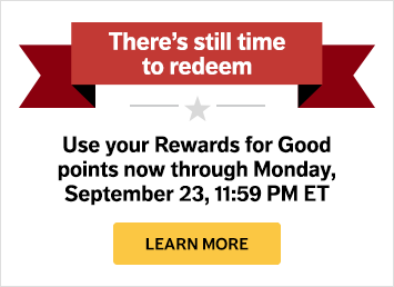 Rewards for Good announcement banner with end date