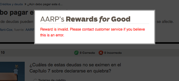 reward is invalid on Spanish language quizzes this morning.png