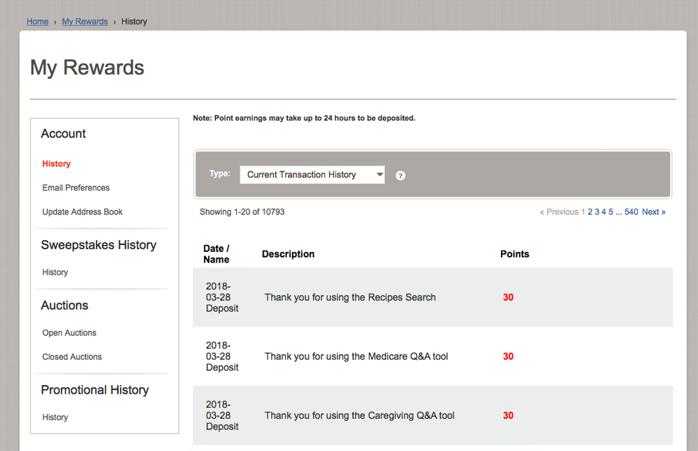 The My Rewards History page, from which you can monitor all sorts of  account activity.