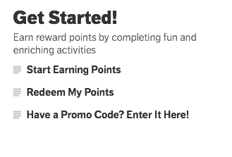 Rewards for Good start page