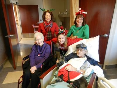 When Dad was in the hospital over Christmas one year we made the most of it! The hospital was great & had carolers, food for us and a lot of flexibility for visitors.