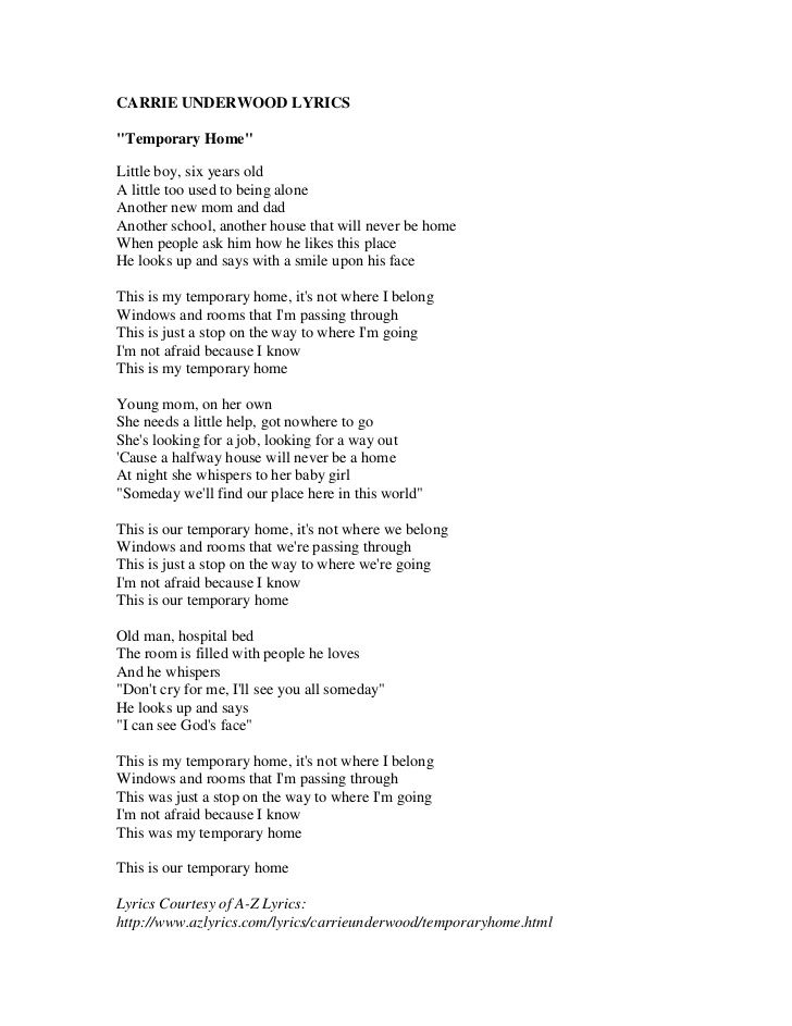 "Lyrics to ""Temporary Home"""