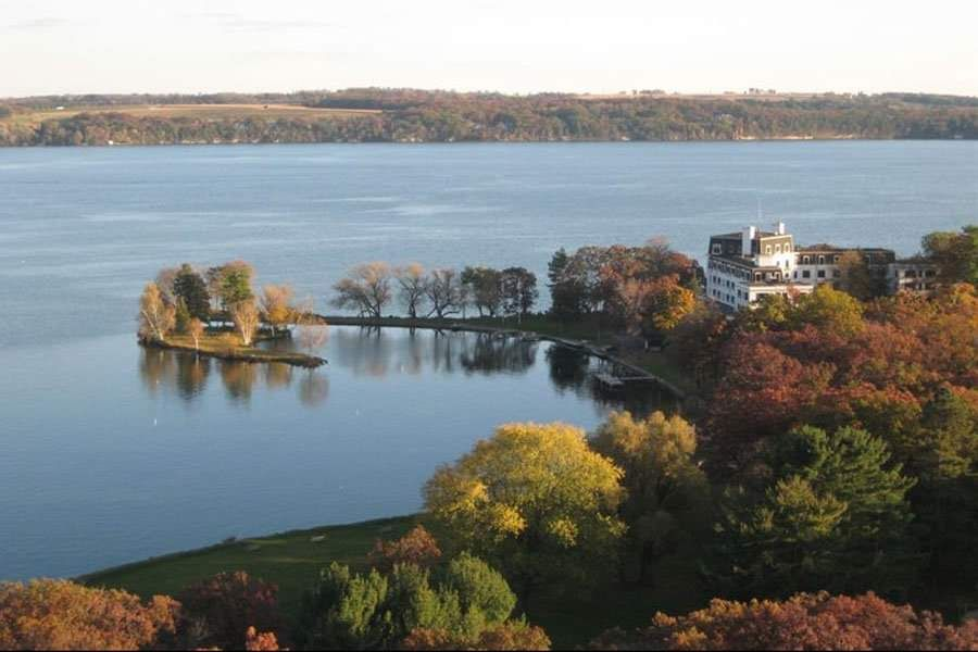 Fall is starting at Green Lake, Wisconsin