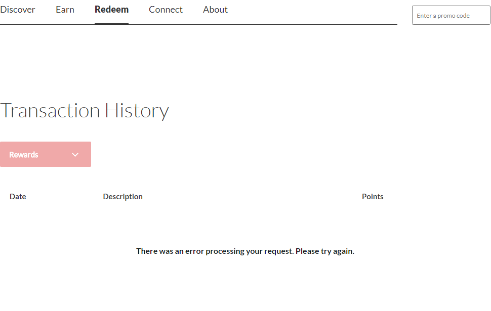 Transaction History Error Message