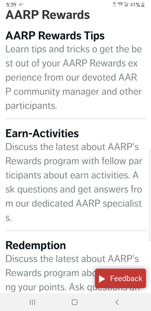 Rewards Community Now 4 Sections