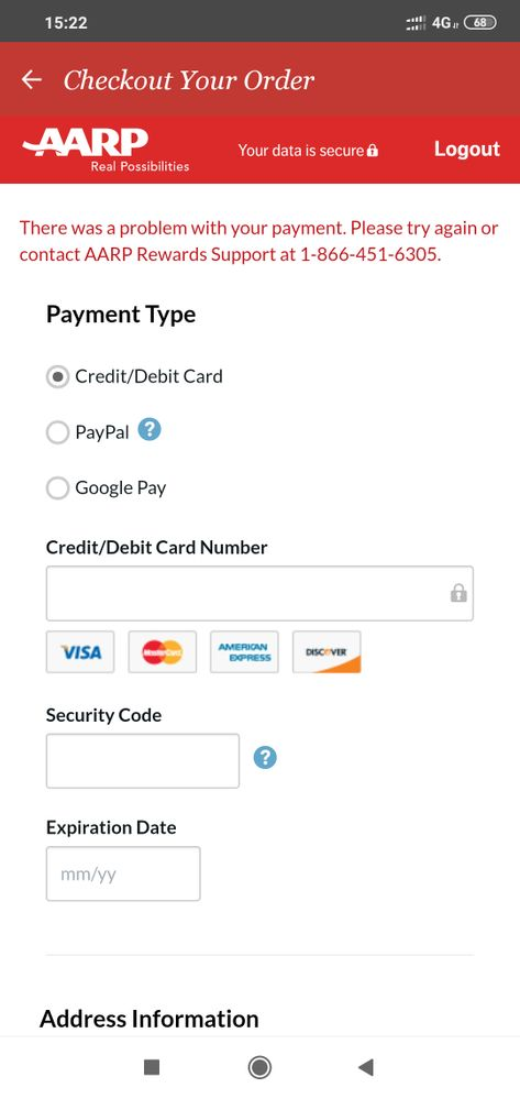 many times to try put my card but still error