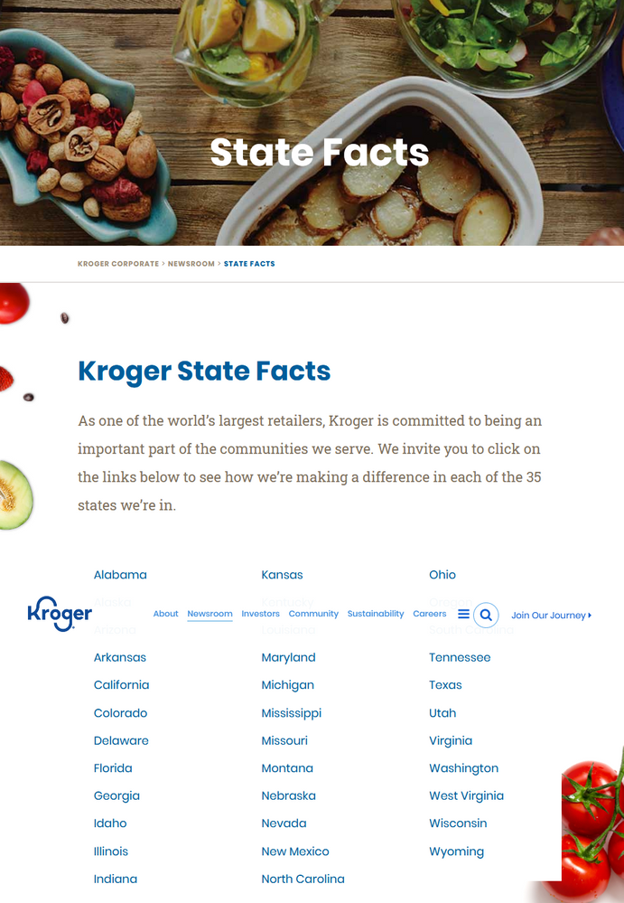 States with Kroger Grocery Chains