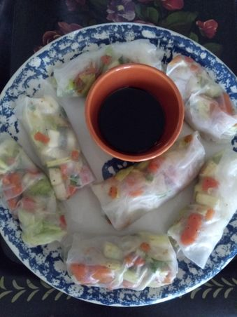 Fresh veggie spring rolls with walnuts