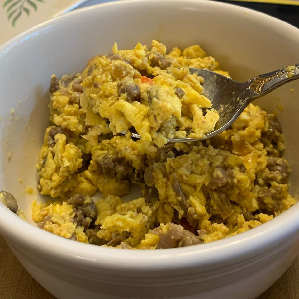 Omega-3 enriched eggs with leftover beef