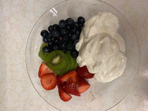 Greek yogurt and fruit for breakfast