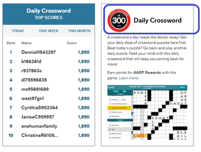 Daily Crossword - 300 Points