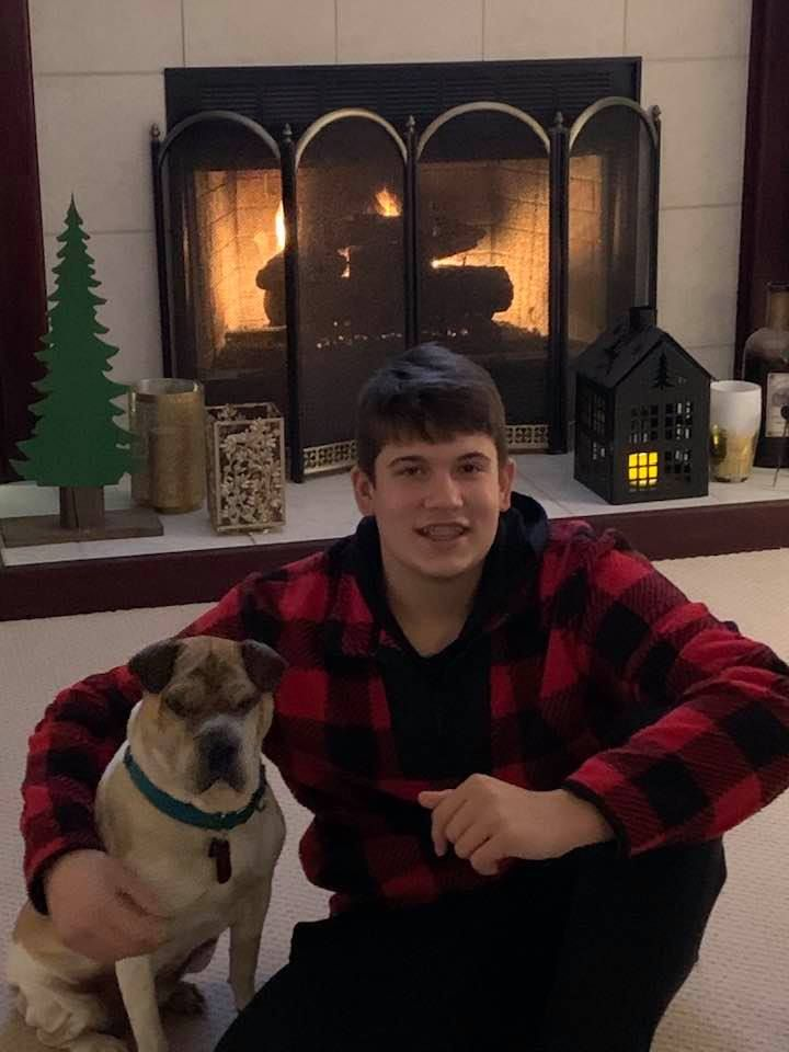 one of my grandsons and my granddog, Bea ♥