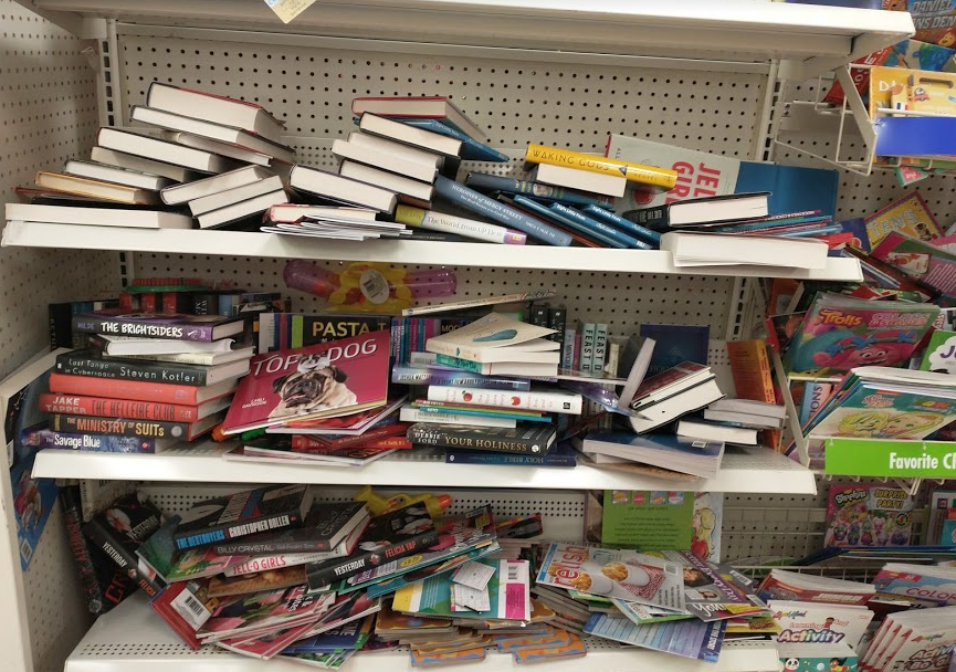 My local Dollar Tree's book section. Book lovers and librarians far and wide are gasping for air.