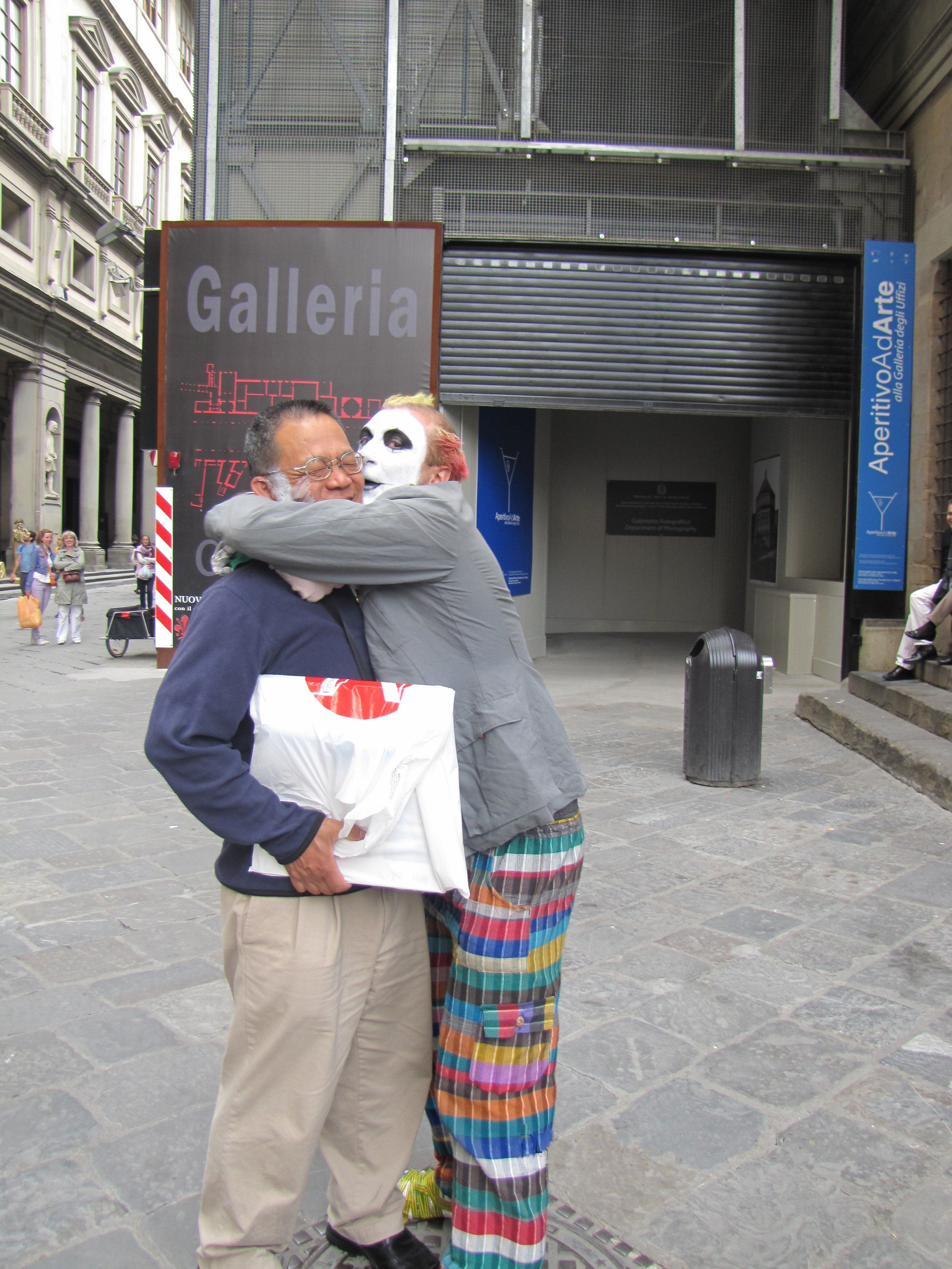 'Attacked' by clown outside the Uffizi gallery