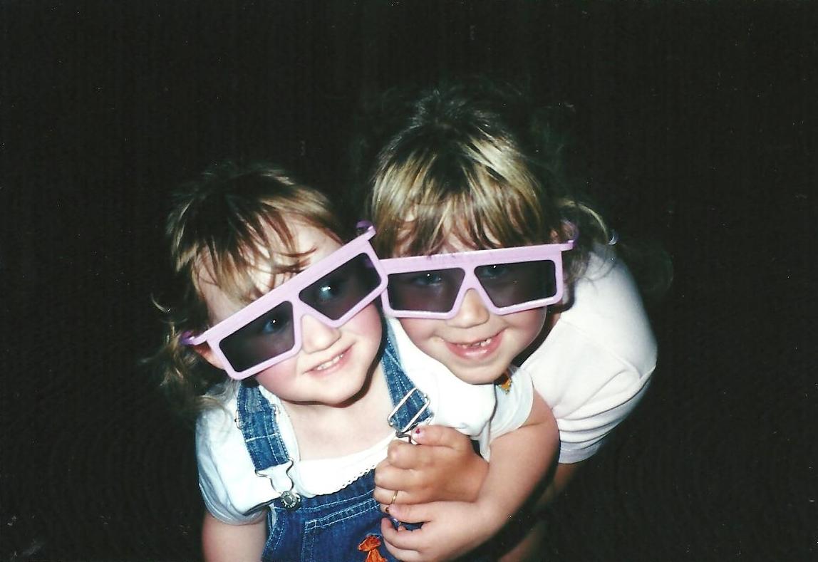 Lauren and Maggie in 3d glasses at Disneyworld
