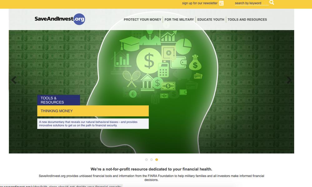 Screenshot from saveandinvest.org web site