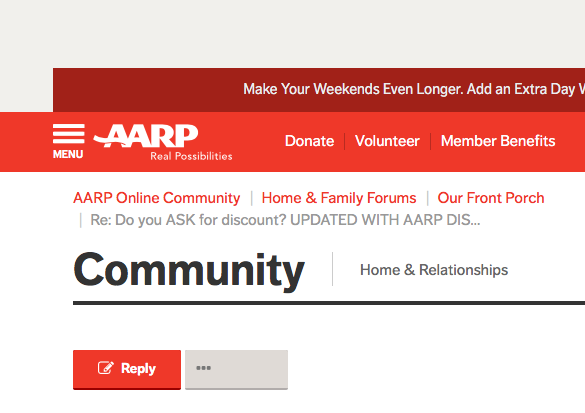 d0de1937058 Do you ASK for discount  UPDATED WITH AARP DISCOUN... - AARP Online  Community