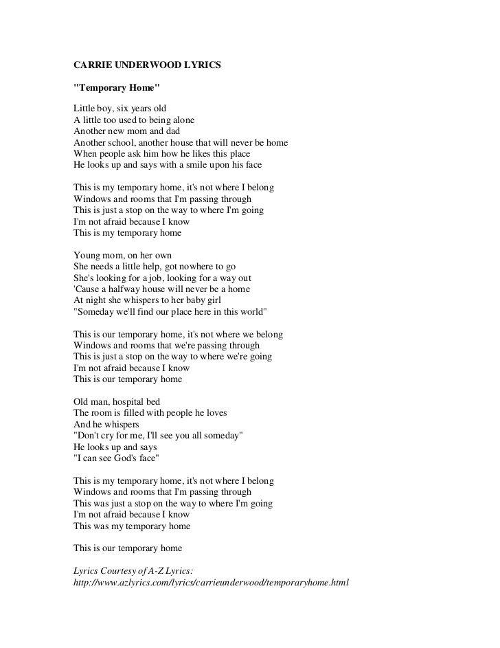 """Lyrics to """"Temporary Home"""""""