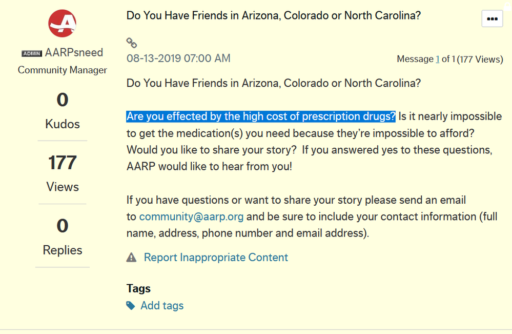 Re: Do You Have Friends in Arizona, Colorado or No    - AARP