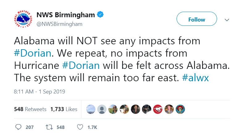 Dorian Will NOT Hit Alabama - AARP Online Community