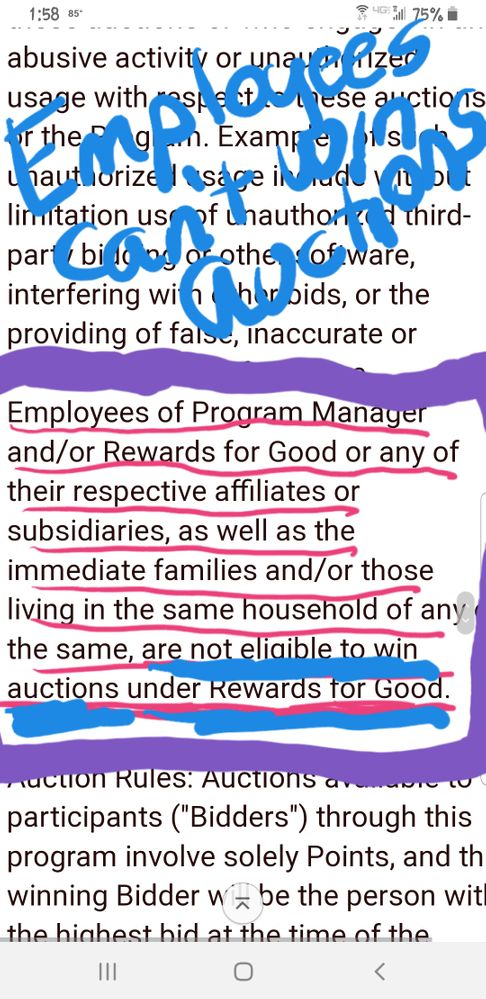 Auction Rules Employees can't win